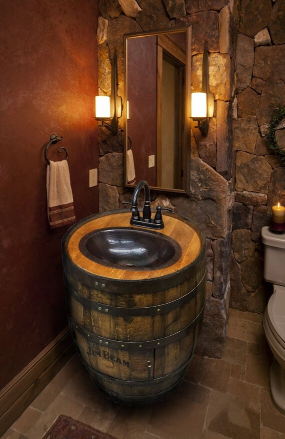 Whiskey barrel sink hammered copper rustic antique bathroom - Antique bathroom vanities mississauga ideas ...