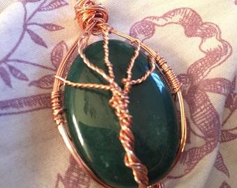 Bloodstone Wire Wrap Tree of Life  Pendant