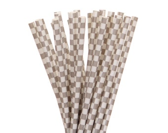Paper Straws, Gray Checkered Straws, Gray and White Paper Straws, Vintage Straws, Glam Paper Straws, Wedding Gray Straws, Gray French Straws