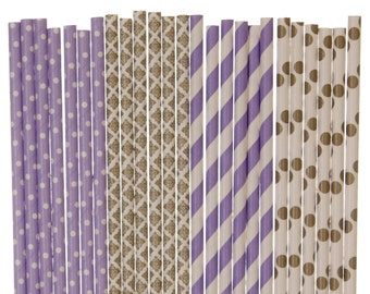 Paper Straw Mix, Lavender and Gold Polka Dot Damask Paper Straws, Purple and Gold Graduation Party, Lavendar and Gold Wedding Paper Straws