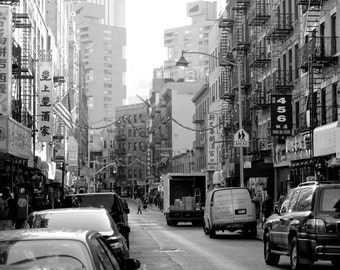 a street in Chinatown in New York City, black and white, NYC