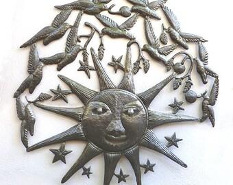 "Sun Metal Wall Hanging - Large Sun Metal Wall Art - 34"" - Haitian Metal Art - Recycled Steel Drum - Handcrafted Metal Art of Haiti - 1645-34"