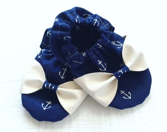 Navy & white anchor fabric with leather sole