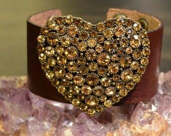 ON SALE, Leather Cuff Bracelet, Heart, Brown Leather Cuff, Citrine Swarovski Crystals, Cuff Wristband, Bohemian, Hearts, Genuine Leather