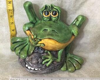 Ceramic Frog on a Rock