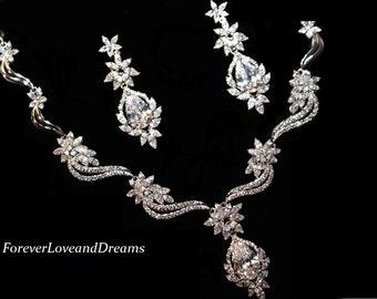 CZ wedding necklace set,  crystal bridal necklace and bracelet set, wedding necklace and earring set, wedding jewelry set