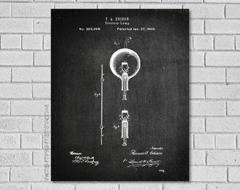 Edison Lightbulb Patent Print  - Light bulb Patent - Thomas Edison Light Blub Patent - Patent Art - Edison - Historical Print - Patent Print