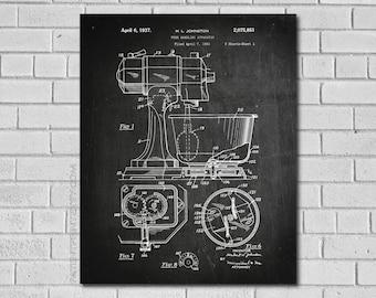 Kitchen Art - Kitchen Poster - Kitchen Patent - Home Decor - Vintage Kitchen Poster - Kitchen Aid Mixer - Cook Print - Patent Print HK851
