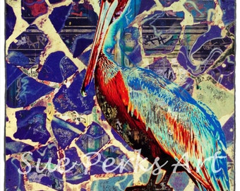 Blue Guell Heron Bird Digital Art Print