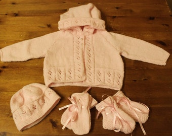 hand knitted infant set