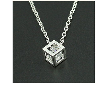 Silver Diamonade Cube Pendant Necklace
