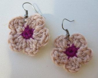 Earrings Flowers crochet