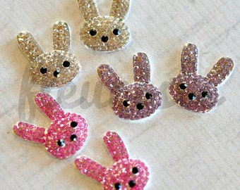 Jeweled Flatbacks Easter Bunnies, Flat back Easter Bunny, Rhinestone Button, Metal Embelishment, Wholesale Rhinestone Button Pick Your Color