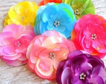 Rhinestone Flowers, Organza Flowers, Fabric Flower, Grab Bag Flowers, Grab Bag, Silk Flowers, Chiffon flower, DIY Flower, DIY Fabric Flower