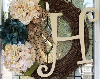 Large Initial Grapevine Wreath