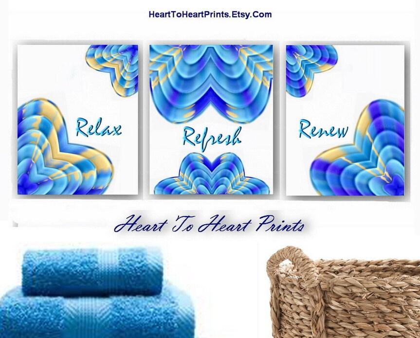 blue bathroom wall decor aqua royal blue by hearttoheartprints. Black Bedroom Furniture Sets. Home Design Ideas