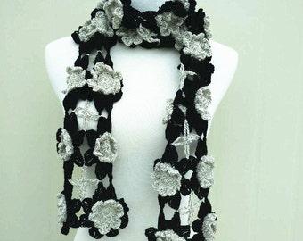 Black and Gray Crochet Flower Scarf