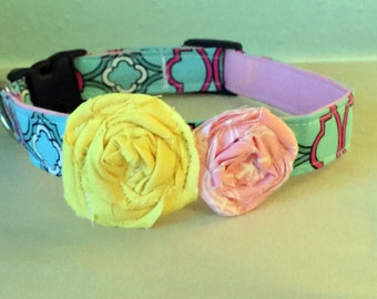 Blue, Pink, & Yellow Girly Flower Dog Collar