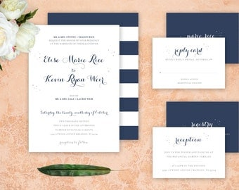 Striped Navy Blue and Blush Wedding Invitations