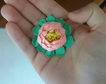 Origami Lotus Flower magnet/mini lotus flower origami origami lotus flower favor gift/birth/magnet/flower magnet