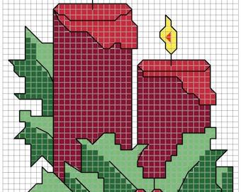 Christmas Candles 3x4 cross stitch pattern