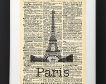 Paris Eiffel Tower - Vintage Dictionary Print
