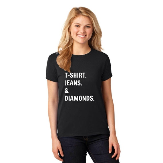 T shirts jeans diamonds for Diamond and silk t shirts