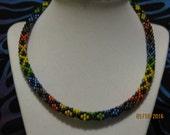 Alternating Fishnet pattern Sacred Hoops necklace