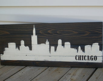 Stained City Skyline Silhouette Sign, Handmade, Handpainted, Reclaimed Wood, Pallet Sign