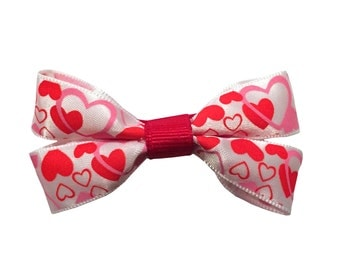 Red, White & Pink Hearts Valentine's Day Dog Bow