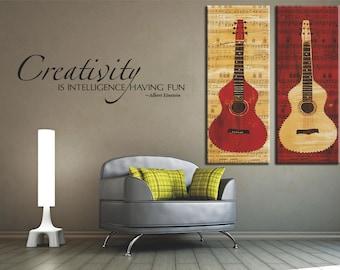 Creativity is Intelligence Having Fun Wall Decal, Removable Wall Decal, Removable Vinyl Lettering