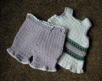 Baby girl jumper and pantalettes 9 tpo 12 months #B0057
