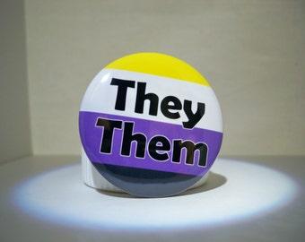 BOLD Non-Binary Flag Pronoun Button (They Them)