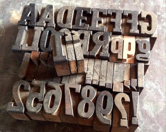 "Vintage 1"" Letter Press Letters, Numbers Etc."