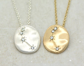 Hand Made Aries Necklace - 18k Gold Plated or Sterling Silver Plated Constellation Pendant Necklace - Zodiac Charm and Chain