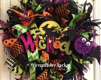 Halloween Wreath, Halloween Wreaths for Front Door, Halloween Door Decor, Vintage Halloween Decor, Witch Door Wreath, Witch Hat, Witch Decor