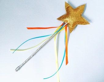 Fairy star wand. Glitter, dress up, imaginative play, gold star wand.