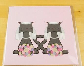 Lesbian Wedding Cat Card
