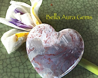 Red Moss Agate Heart-Puffy Heart