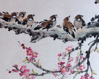 Six Birds - Authentic Traditional Chinese Painting (Made to Order)