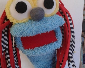 Blue Sock puppet , Moving mouth puppet ,  hand puppet, Therapy and Educational Puppet .