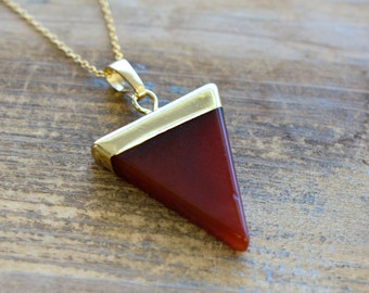 Triangle Red Agate Necklace - Pendant in 24K Plating w/ Stainless Steel Chain - Flag Gemstone Jewelry  (R0--)