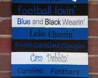 Carolina Panthers Wooden Sign (or customized Team sign)