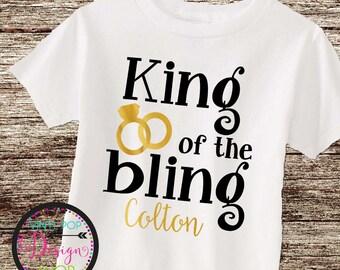 Ring Bearer shirt toddler personalized custom shirt wedding party King of the Bling ring bearer tee wedding shirt wedding rings