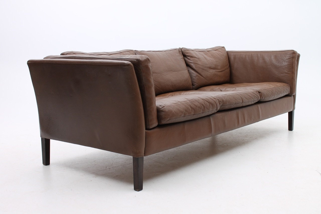 on hold danish modern leather 3 seater sofa by stouby