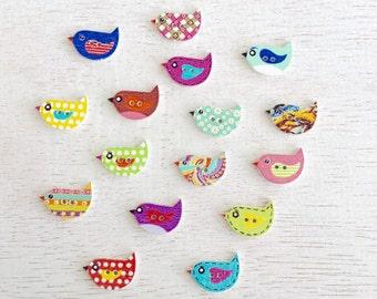 10 Mixed Random Bird Wooden Buttons,Baby Buttons,Craft Wooden Buttons,Two Holes Sew Trough Button,Scrapbooking 24x12mm Lot #252