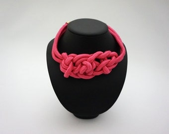 Fuchsia knot necklace