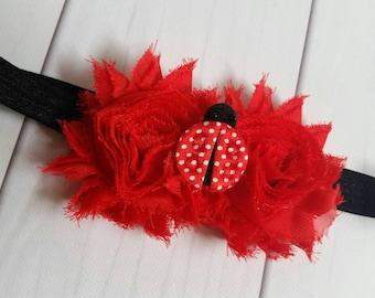 Ladybug Headband | Ladybug Shabby Chic Red and Black Headband | Ladybug Birthday Party | Ladybug Themed First Birthday | Infant Headband