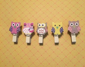 Kawaii cute stationery supplies; Cute Animal Wooden Paper Clips, owls 5 PACK