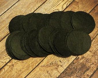 """Large 2"""" Black Felt Circles - 2 Inch Felt Circles - Felt Circles - Die Cut Felt Circle-"""